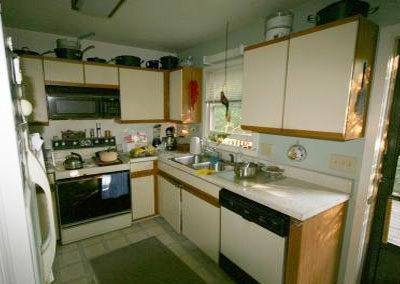 Dark, small kitchen