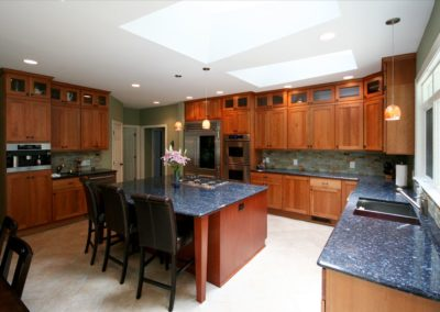 Kitchen design with extensive storage and counter space