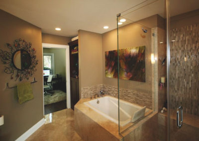 Heated tile floors and shower seating