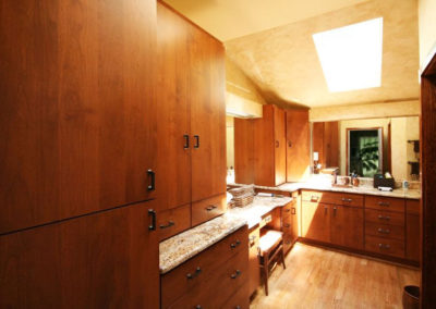 Well-placed cabinets provide easily accessed storage
