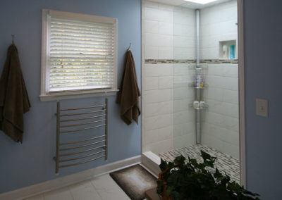Seldom used garden tub replaced with roomy shower